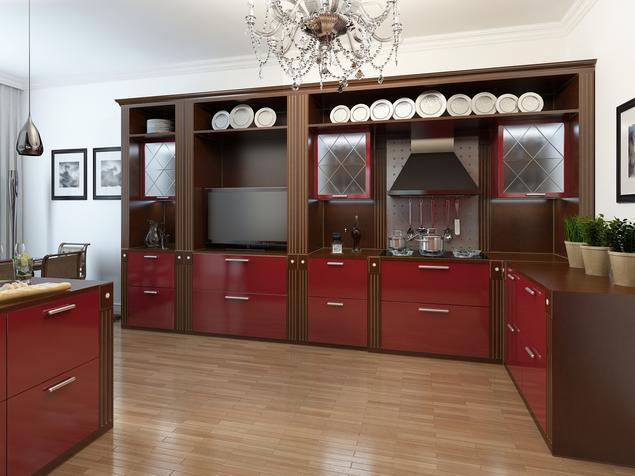 Zobacz galerię zdjęć Elegancka, czerwona kuchnia   -> Urządzanie Kuchni Z Jadalnią