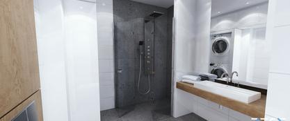 Projekt mieszkania na osiedlu Zakątek w Chorzowie - łazienka