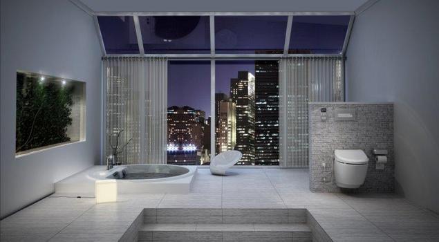 Duża nowoczesna łazienka z jak luksusowy salon kąpielowy nad miastem